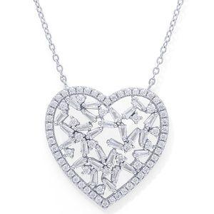 Macy's | Fine Silver Cubic Zirconia Heart Necklace